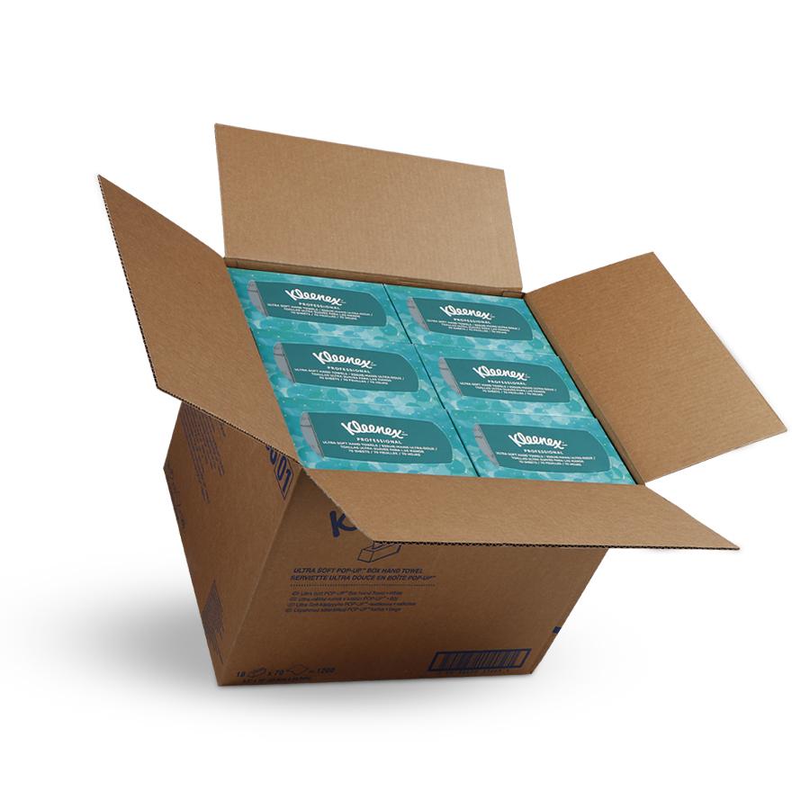 Ručníky KLEENEX ULTRA SOFT, bílé, 1 vrstva, 1260 ks, 18 krabic x 70 ks