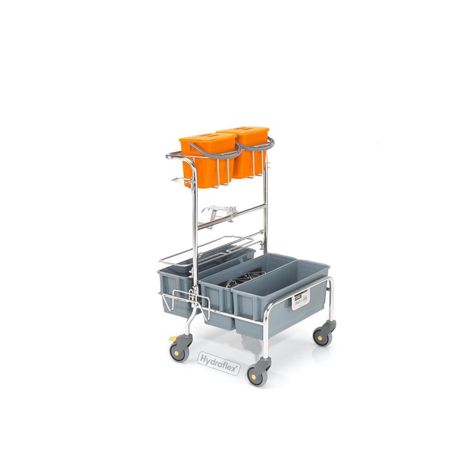 Vozík úklidový PurMop® 2.0 ERGO 230, bezkontaktní, se třemi plastovými kbelíky