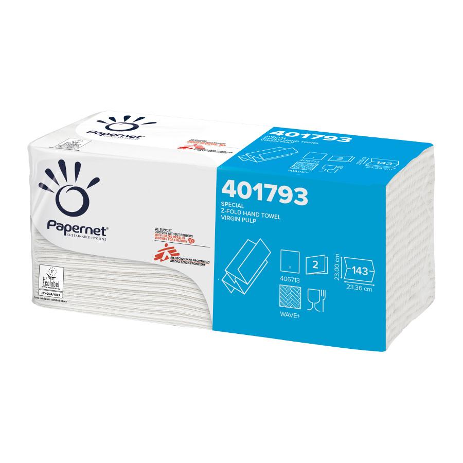 Ručníky Z-Fold special, bílé, 2-vrstvé, 2860 ks, 20 balíčků x 143 ks