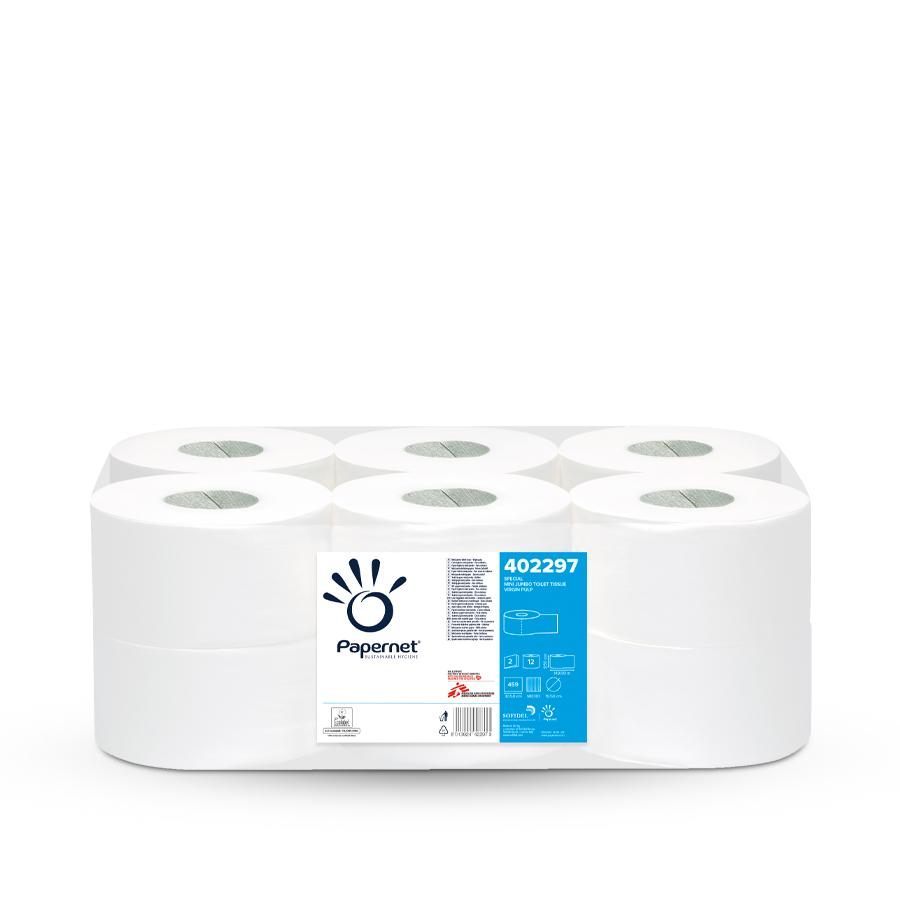 Toaletní papír Mini Jumbo 19 special, bílý, 2 vrstvy, 12 rolí x 459 útržků