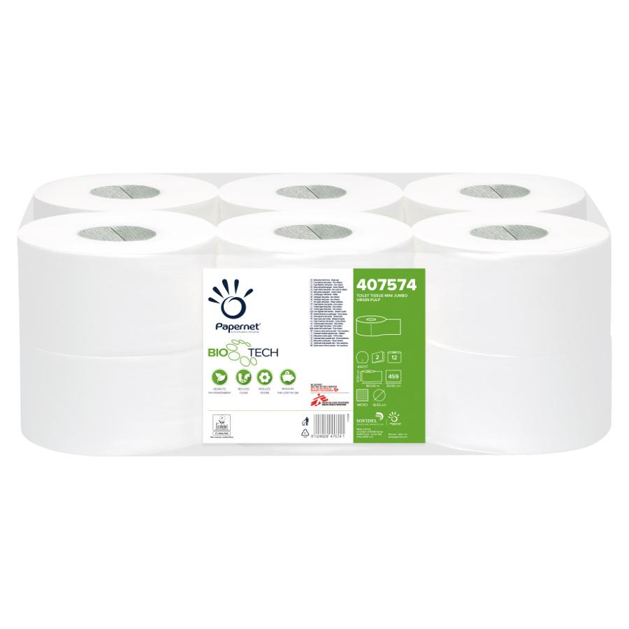 Toaletní papír Superior Mini Jumbo BioTech, 19,5cm, bílý, 2 vrstvy, 12 rolí x 459 útržků