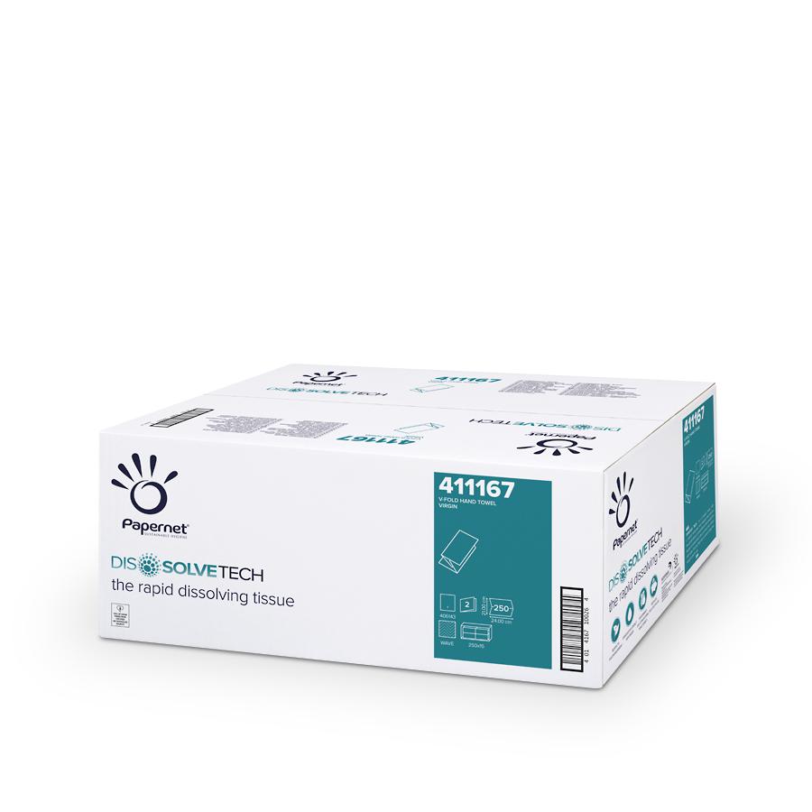Ručníky V-Fold Superior DISSOLVETECH, bílé, 2 vrstvy, 3750 ks, 15 balíčků x 250 ks