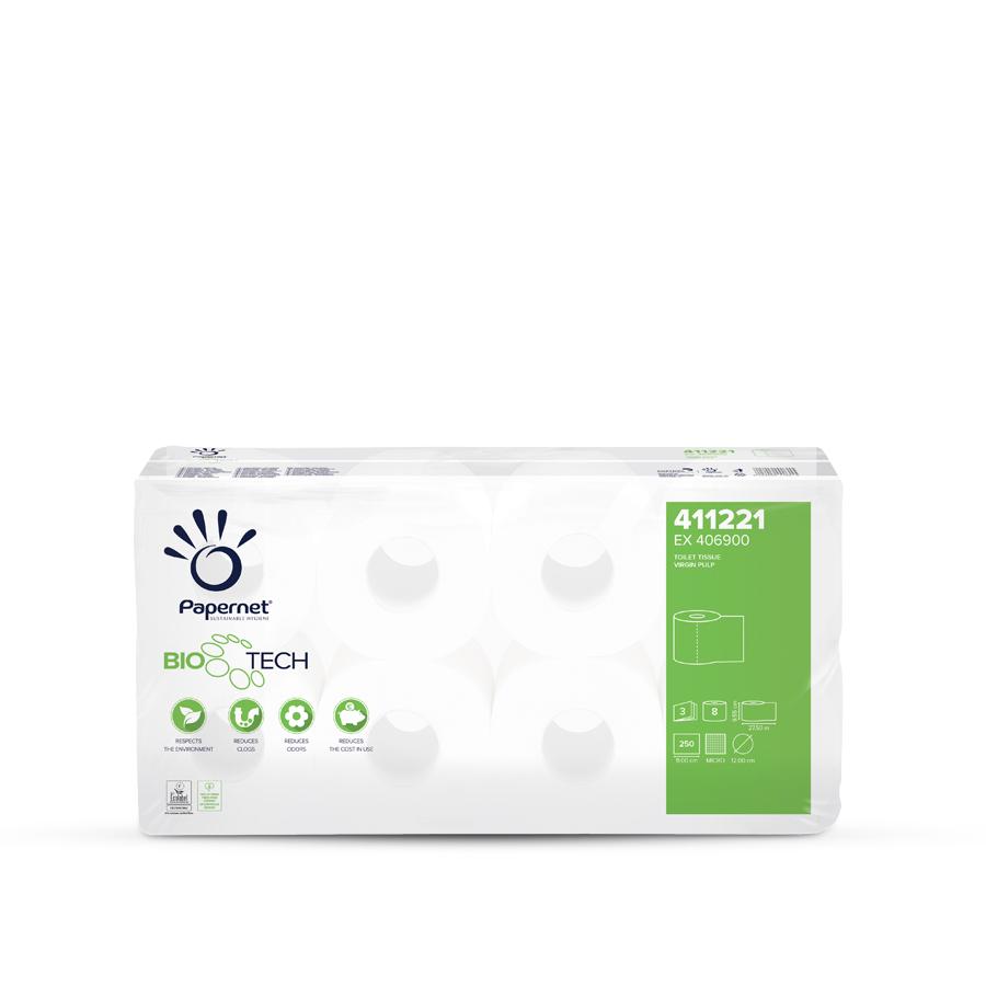 Toaletní papír Superior BioTech, 3 vrstvy,  malé roličky, 72 rolí x 250 útržků