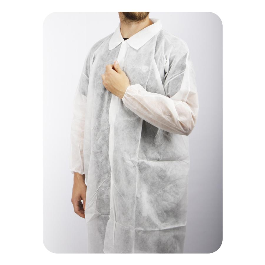 Plášť  jednorázový, s límcem a druky, XL, bílý, 5 ks
