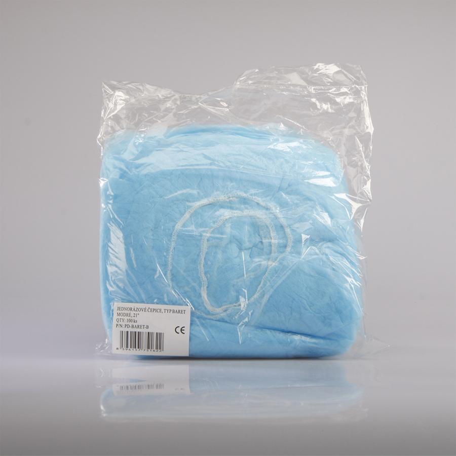 Čepice jednorázová - baret, 21'', modrá, 100 ks
