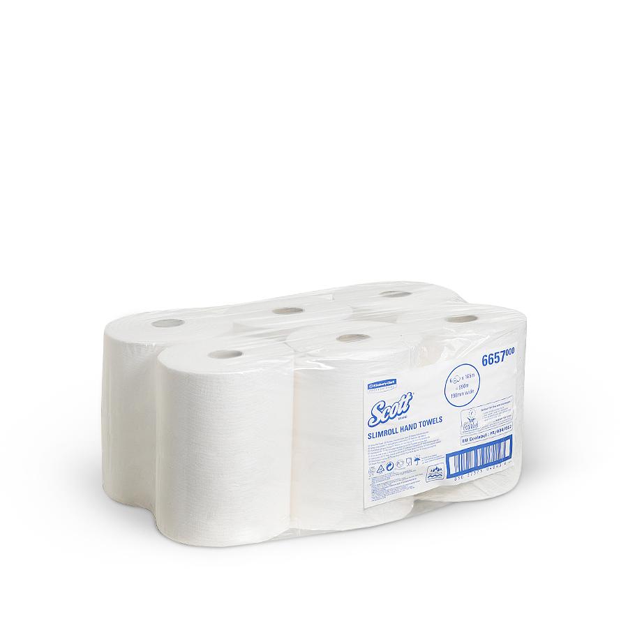 Ručníky SCOTT SLIMROLL, bílé, 1 vrstva, 6 rolí x 165 m