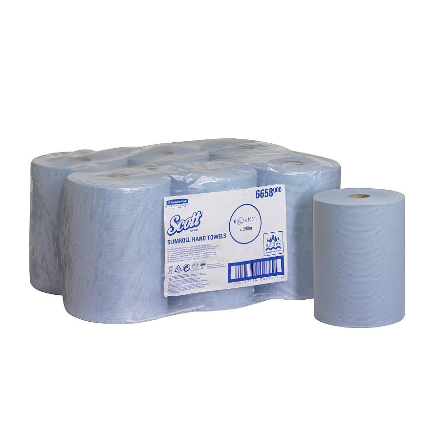 Ručníky SCOTT SLIMROLL, modré, 1 vrstva, 6 rolí x 165 m