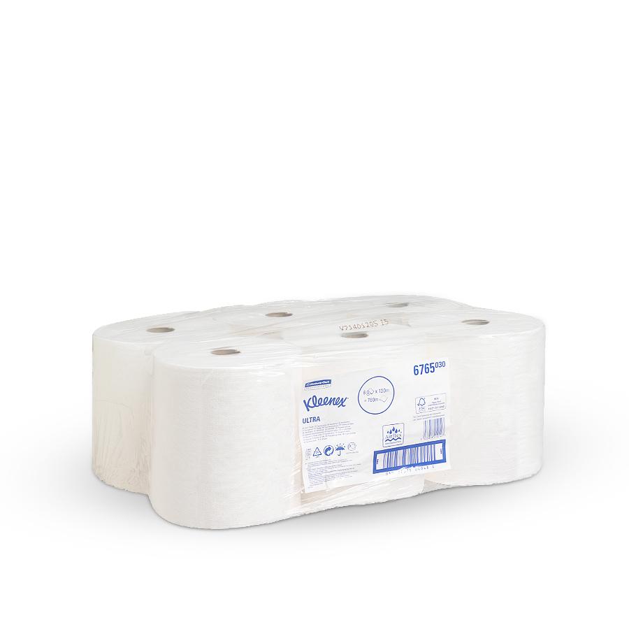 Ručníky ULTRA KLEENEX,  bílé, 2 vrstvy,  6 rolí x 130 m