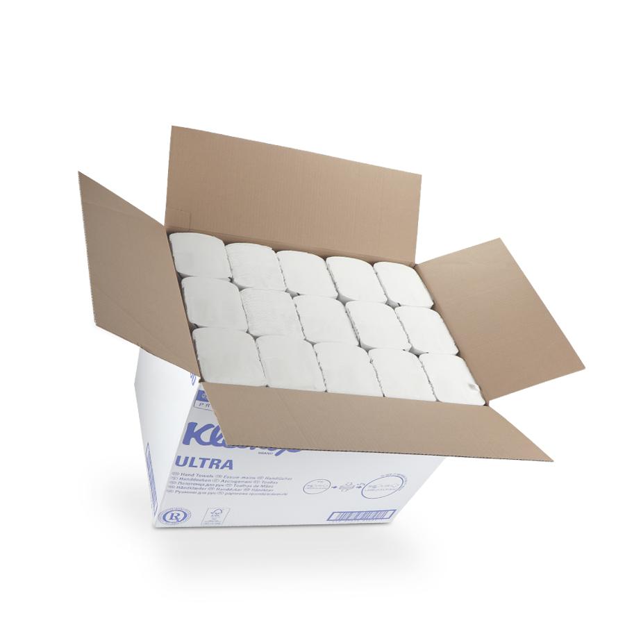 Ručníky KLEENEX SUPER SOFT, bílé, 3 vrstvy, 2880 ks, 30 balíčků x 96 ks