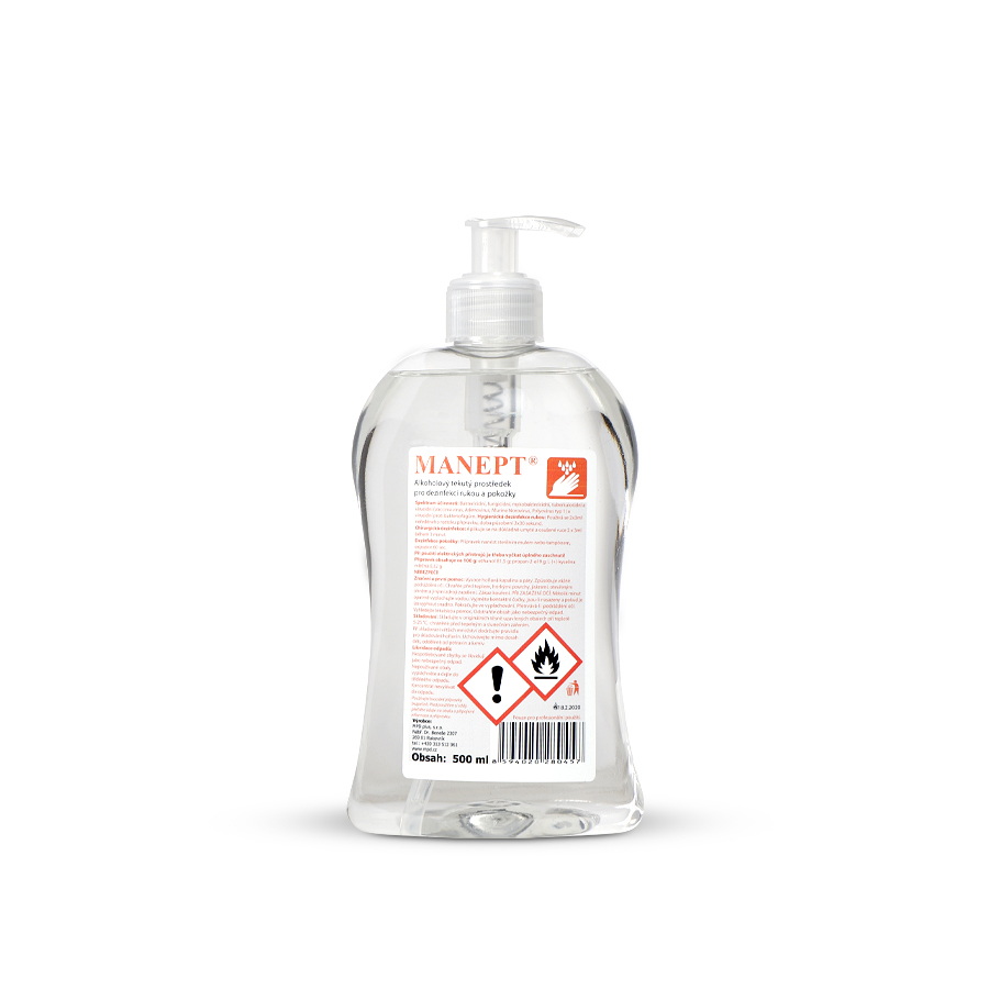 Dezinfekce rukou a pokožky MANEPT 20 x 500 ml