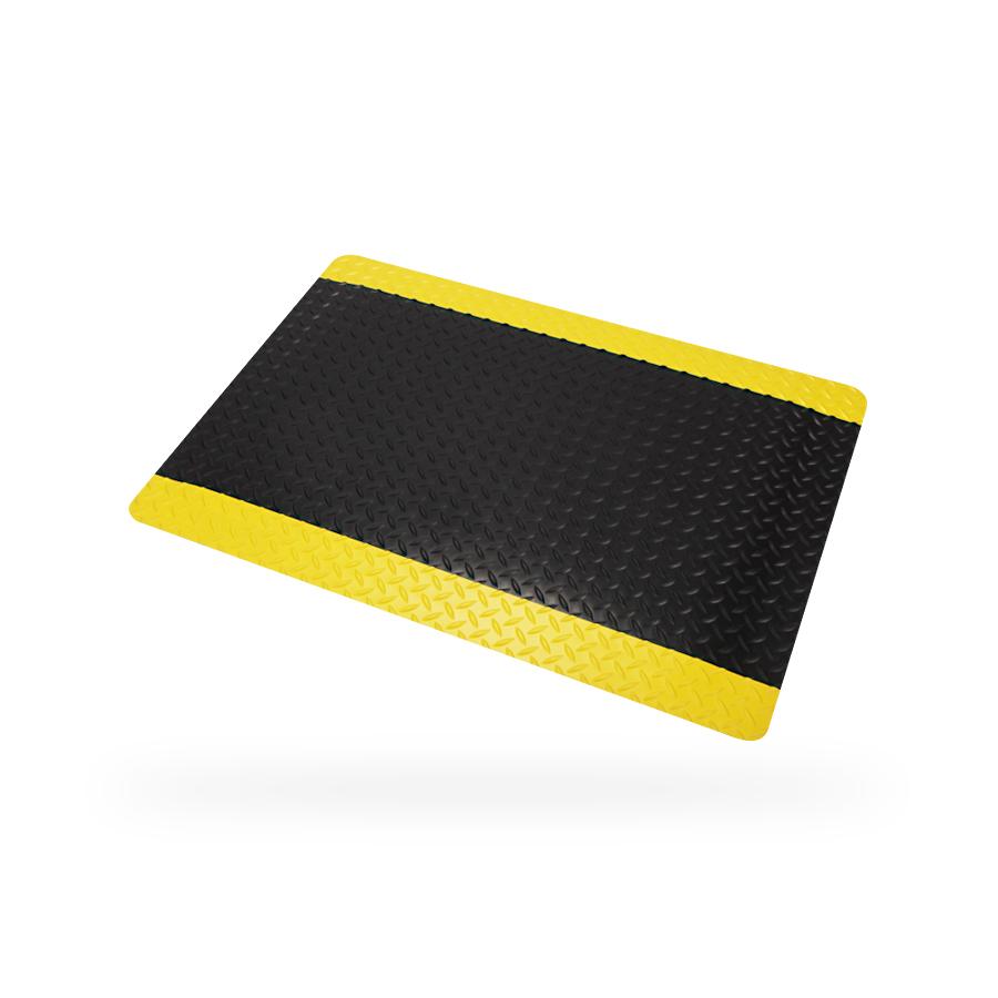 Rohož ARIOSO Diamond 0,9 x 0,6 m, barva černá, žlutý okraj