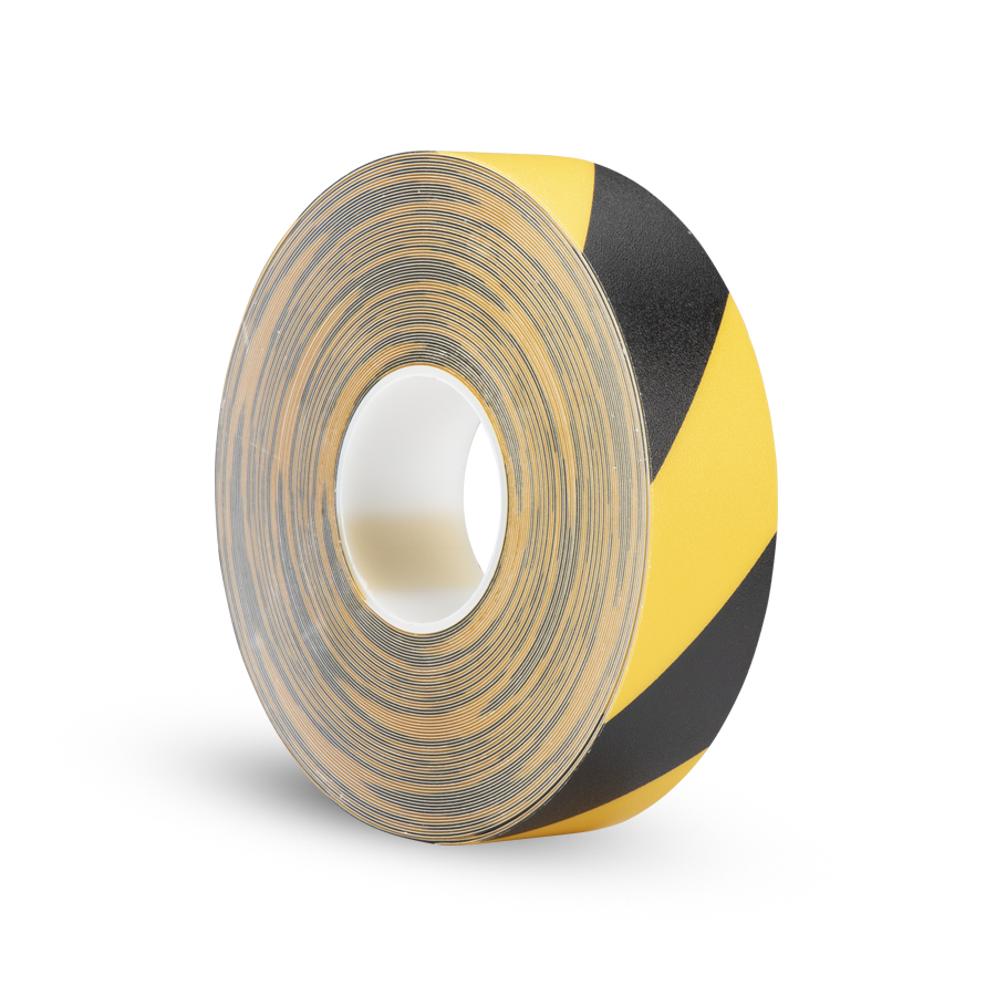 Páska P-Route 50 mm x 30 m, žlutá/černá, vyznačovací, PVC, tloušťka 0,96 mm