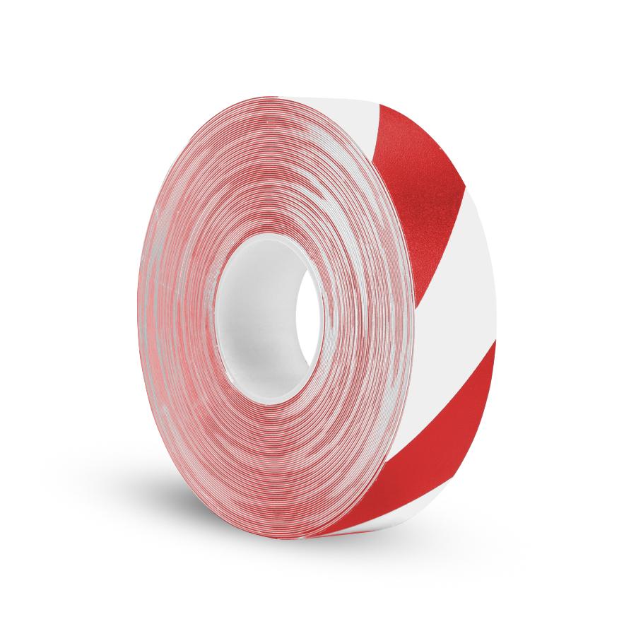 Páska P-Route 50 mm x 30 m, červená/bílá, vyznačovací, PVC, tloušťka 0,96 mm