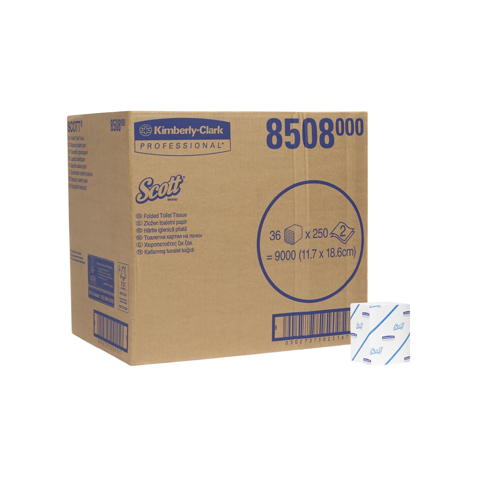 Toaletní papír SCOTT, skládaný, bílý, 2 vrstvy, 9000 ks, 36 x 250 ks