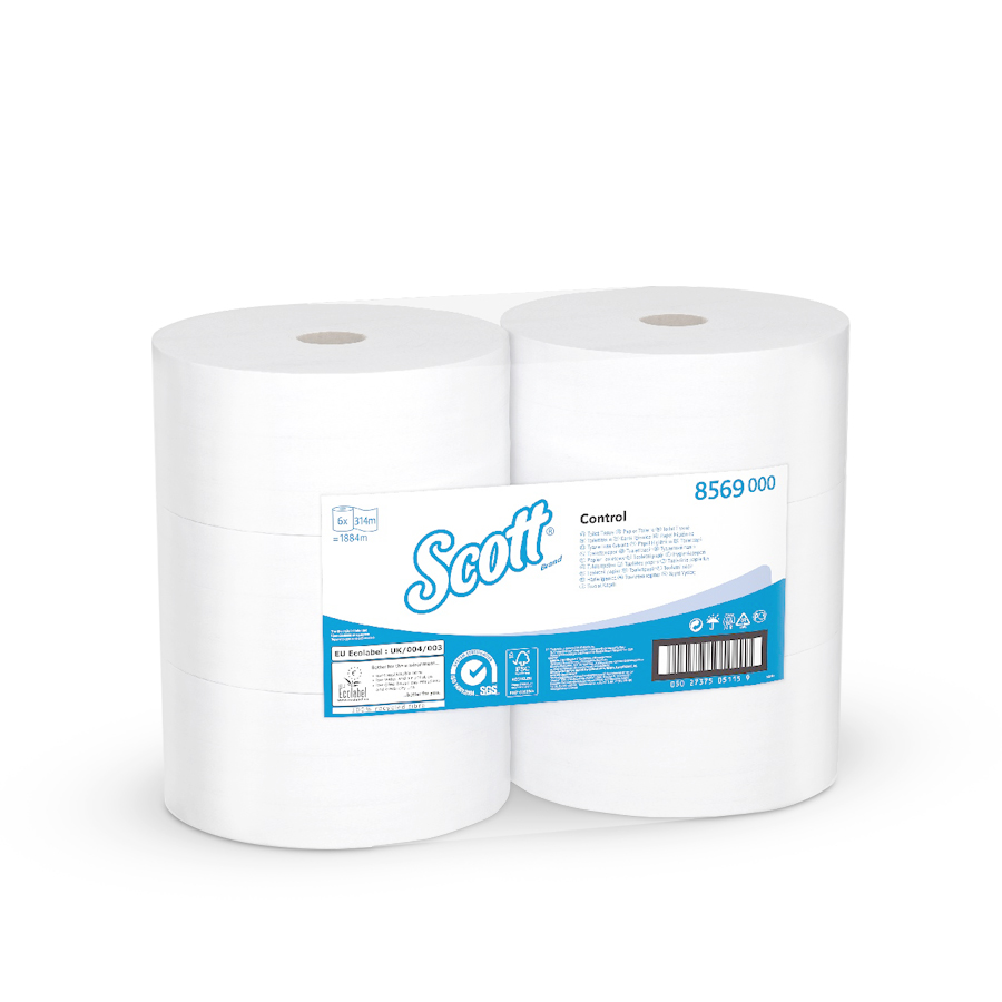 Toaletní papír SCOTT CONTROL 24 cm, centrální odvin, bílý, 2 vrstvy, 6 rolí x 1280 útržků