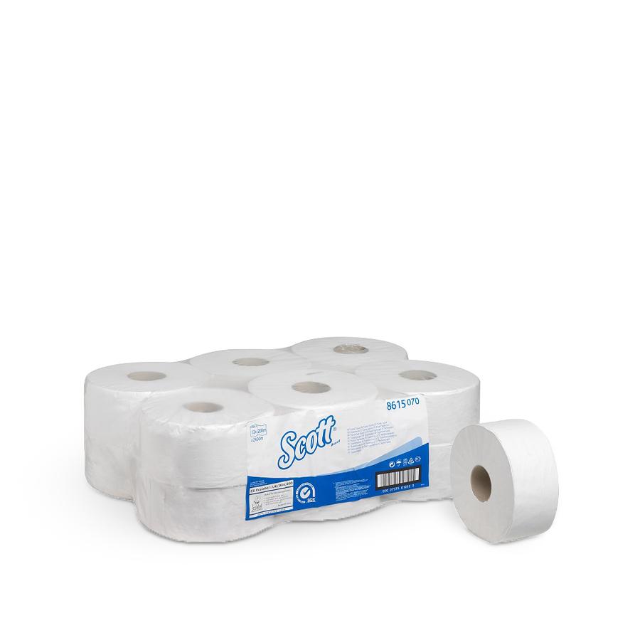 Toaletní papír SCOTT 19 cm, Jumbo, bílý, 2 vrstvy,12 rolí x 200m