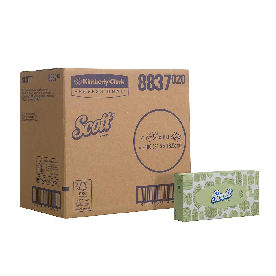 Kapesníčky SCOTT, bílé, 2100 ks, 21 krabiček x 100 ks