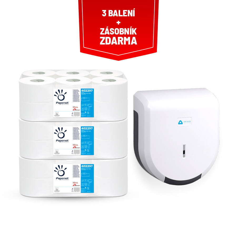 AKČNÍ BALÍČEK: 3x toaletní papír Papernet Mini Jumbo 19 special +  zásobník ARIOSO® PURE JUMBO 20