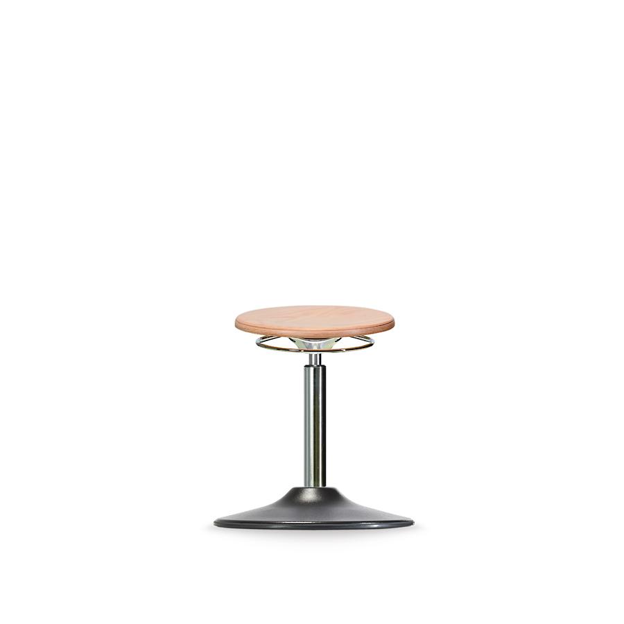 Stolička WS 3010 TPU, dřevěná, s kruhovým podstavcem, PU hrana