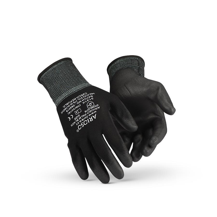 Rukavice ARIOSO PALM BLACK M/7, 10 párů